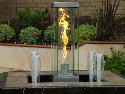 Fire and water features fireplace fire pit water falls flames for Fire and water features